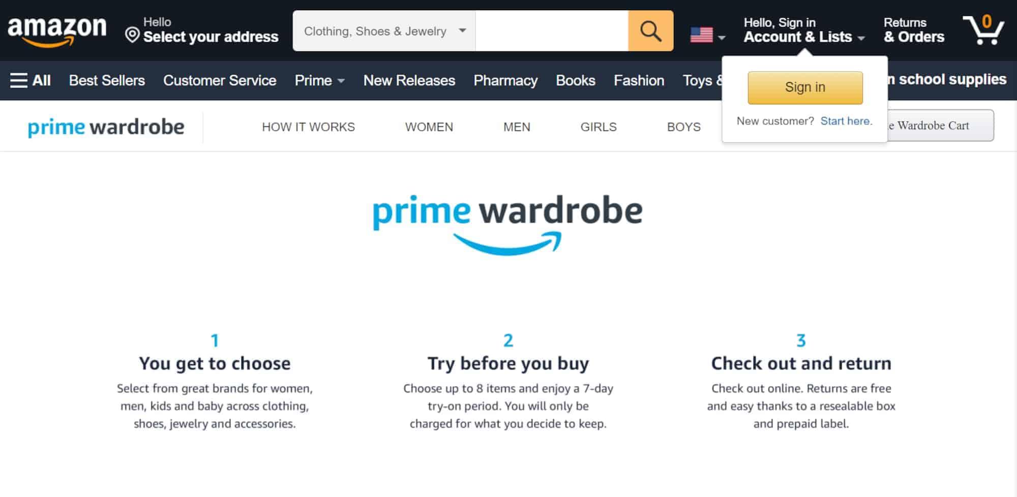 Amazon prime Wardrobe website screenshot
