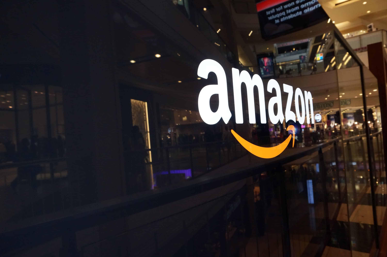 Amazon Prime, Amazon logo on a glass window