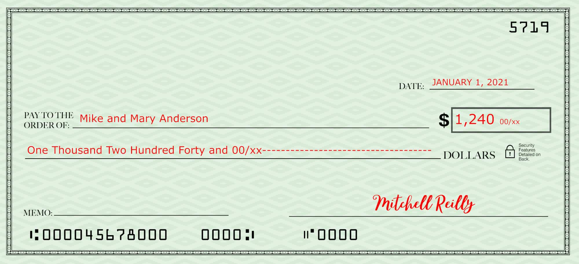 Filling out a check completely--check with the date, payee amount in both words and numbers plus signature