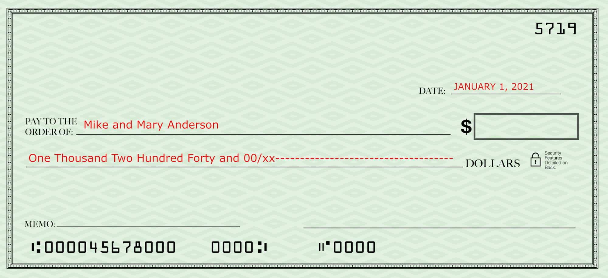 Filling out a check--blank check with the date, payee and amount in words filled in