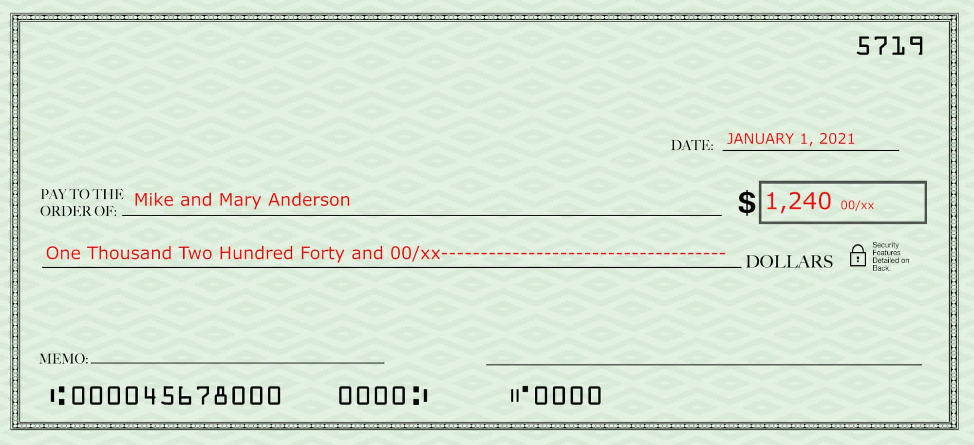 Filling out a check--blank check with the date, payee and amount in both words and numbers filled in