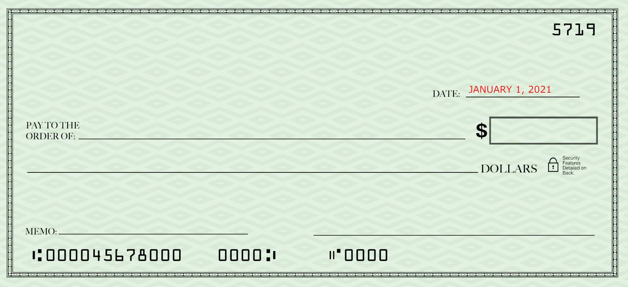 Filling out a check--blank check with just the date filled in
